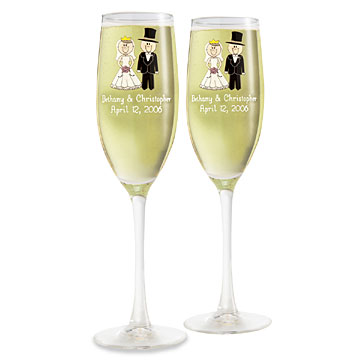 Wedding Party Character Icon Wine Flutes